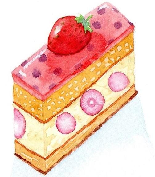 ケーキの水彩イラスト